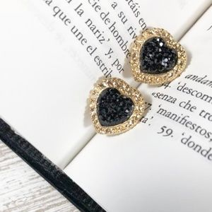 STATEMENT JEWELED PAVE GOLD STUD EARRINGS